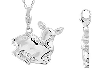 0.925 Sterling Silver or 14k Yellow Gold Charming Animals Deer Charm