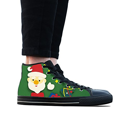 Sneakers, Custom Santa Claus High Top Canvas Shoes Classic Casual Fashion Colorful Woens Black