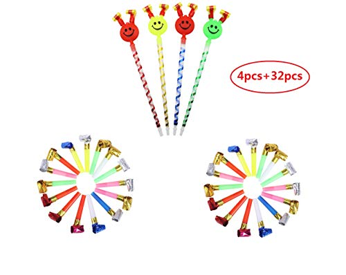 36 pcs Musical Blow Outs,Birthday Party Favors, New Years Party Noisemakers Party Blowouts Whistles,Fun Party Favors, Goody Bag Stuffers, Assorted Colors