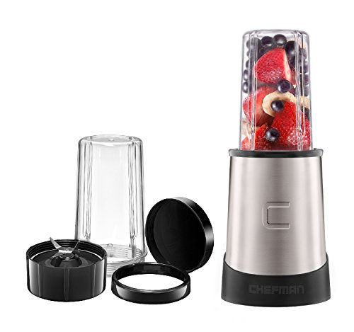 Chefman Ultimate Personal Smoothie Blender, Single Serve, Stainless Steel Blending Blade, 2 Travel Cups with Lids, Solid Storage Cover and Comfort Drinking Rim, 6 Piece - RJ28-6-SS-Black