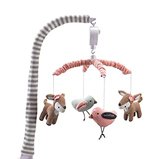 Lolli Living Baby Crib Musical Mobile w/Sparrow & Deers - Knitted Woodland Bird Safari Animal Characters | Hanging Decor w/Electronic Music Box for Newborn & Nursery Bedding/Crib | Baby Girl