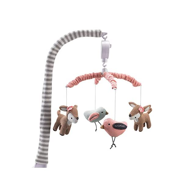 Lolli Living Baby Crib Musical Mobile w/Sparrow & Deers – Knitted Woodland Bird Safari Animal Characters | Hanging Decor w/Electronic Music Box for Newborn & Nursery Bedding/Crib | Baby Girl