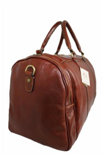Leder Reisetasche Wochenendetasche Sporttasche Weekender MARRONE 05545