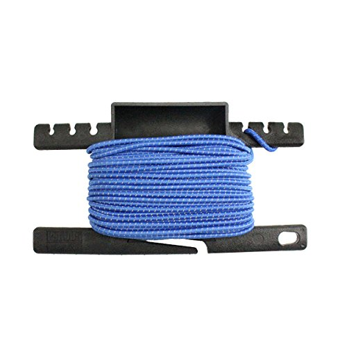 PSKOOK Reflective Shock Cord 1/8 inch Bungee Cord Elastic Rope Line for Outdoor Survival Camping Hiking 3mm 50FT with Spool Tool(50Feet Blue) by PSKOOK