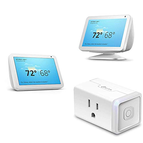 Echo Show 8 Sandstone with Adjustable Stand and TP-Link simple set up smart plug
