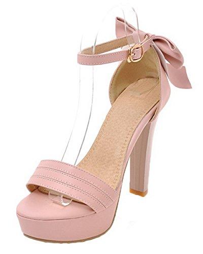 VogueZone009 Women Open-Toe Buckle PU High-Heels Solid Sandals Pink