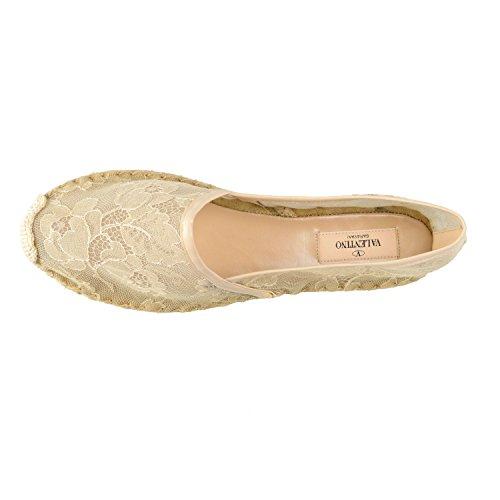 Valentino Garavani Dames Vintage Witte Kanten Espadrilles Loafers Platte Schoenen Wit