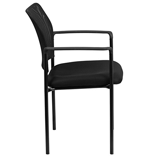 Black Mesh Comfortable Stackable Guest Side Chair with Arms - Reception Office Chair