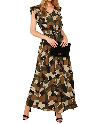 Ezcosplay Women V Neck Button Camouflage Ruffle Trim Sleeve Maxi Slit (Camouflage Ruffle)
