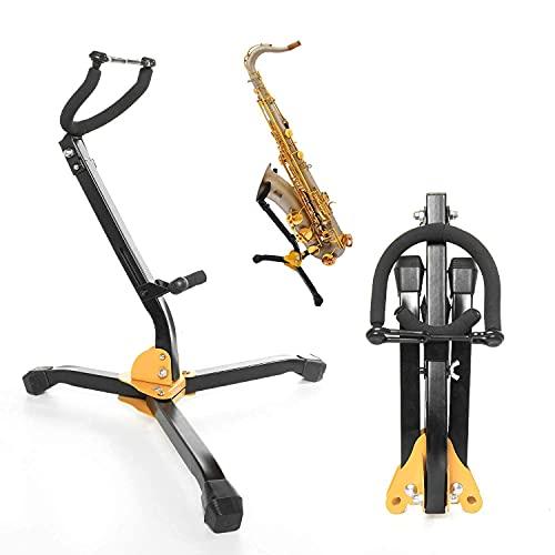Soporte plegable para saxofón alto y tenor.