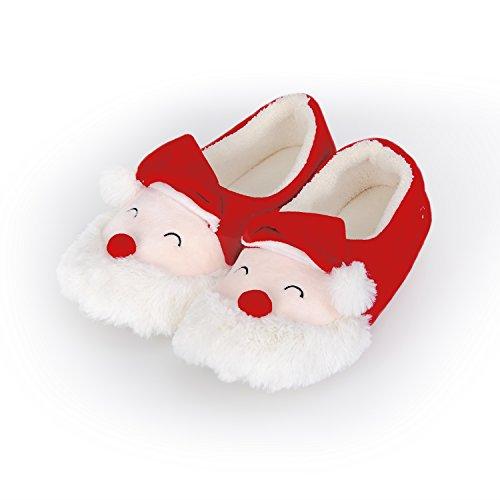 MOXO Christmas Santa Claus Plush Womens and Little Kid Slippers (women) 40-41 (Childrens Christmas Slippers)