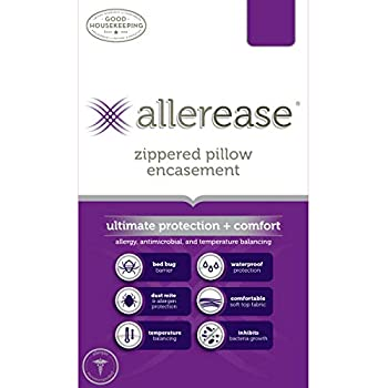 AllerEase Ultimate Protection & Comfort Temperature Balancing Pillow Protector - Zippered, Allergist Recommended, Prevent Collection of Dust Mites and Other Allergens, Standard/Queen - 2 Pack
