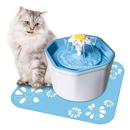 Shangmeite 1.6L Cat Water Fountain with Super Quiet Pump Flower Cat Dog Water Dispenser for Cats with 2 Replacement…