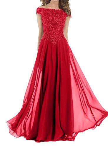 Rot Abendkleider Kurzarm Charmant Perlen Lang mit Damen Chiffon Festlichkleider Partykleider Brautmutterkleider OnFOpvAwq