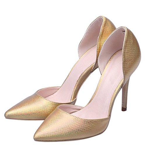 fereshte Women's Animal Print Closed Toe Slip On D-orsay Shoes Lizard Golden 5vdeJ9