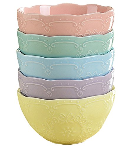 Embossed Soup - Jusalpha Fine China Embossed Bowl Set for Rice-Soup-Salad, Set of 5 (FD-Bowl Multicolor)