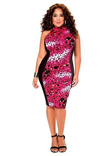 Animal Print Mock Neck Dress   Size  12  Color  Multi