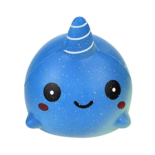 Squishy Whale Slow Rising Toys, Staron Jumbo Soft Squishies Exquisite Whale Stress Reliever Squishy Scented Charms Toys for Kids and Adults (A)