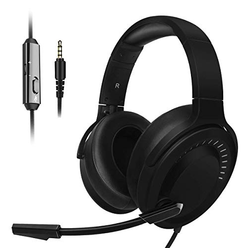 JINDUN PC Gaming Headset - 3.5mm Console Gaming Headset for PS4, and PC - Noise Cancelling Over The Ear Headphones - 7.1 Surround Sound Gaming Headphones with Mic Volume Control (Black)