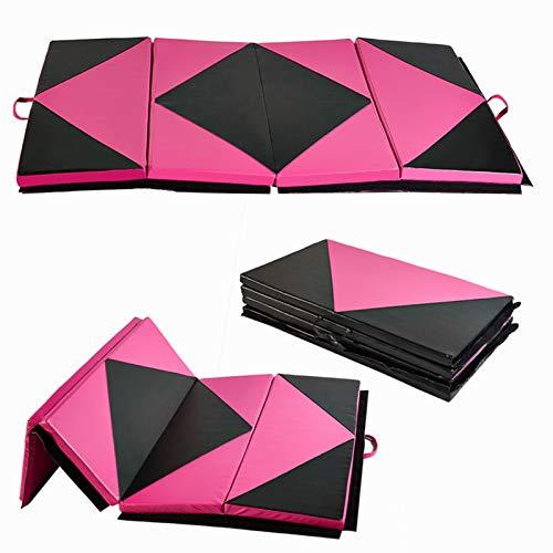 KOOLWOOM Gymnastics Mat PU Leather Thick Folding Panel for Gym Fitness Tumbling Yoga (Black&Pink TYPE1, 4'x6') (Gym Matte)