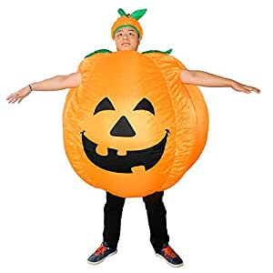 Men's Inflatable Pumpkin Costume Halloween Christmas Cosplay Dress Funny Suit