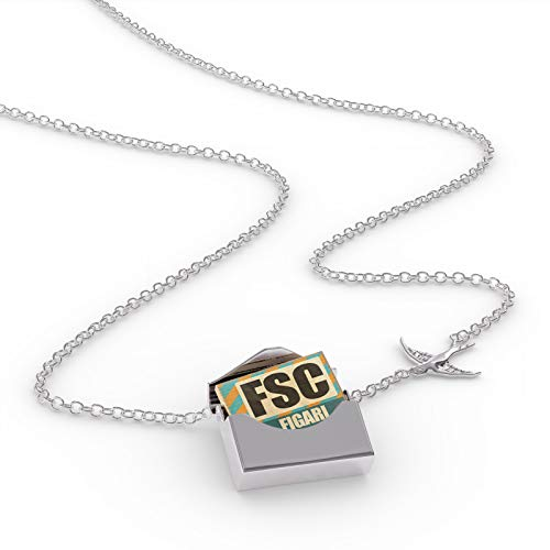 - NEONBLOND Locket Necklace Airportcode FSC Figari in a Silver Envelope