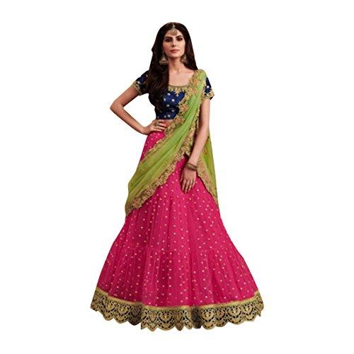 (Bright Pink net Wedding Stylish Blouse Work Lehenga Chaniya Choli Party Net Dupatta Muslim Women Festival 7363)