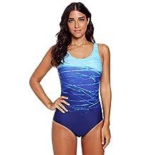 Women's Athletic Training Gradient Criss Cross Back One Piece Swimsuit Swimwear Bathing Suit,Blue,XL