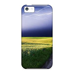 New Style Tpu 5c Protective Case Cover/ Iphone Case - Lightning Storm Over The Countryside