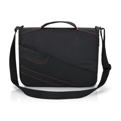 """Jansport 13"""" First Class Laptop Sleeve Black with Red stitch"""