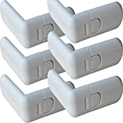 Child Safety Locks ABS Baby Safety Locks Used for Locking Cabinet Drawer Cupboard Refrigerator and Corner Protector,infant Safety Cabinet Locks 3M Adhesive Easiest Installation, 6 Pack (White)