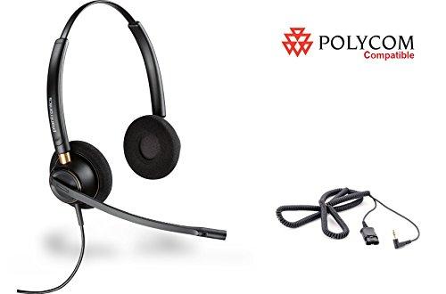Polycom Compatible Plantronics VoIP Noise Canceling HW520 EncorePro 520 Headset Bundle for Polycom IP 320, 321, 330, 331 Phones