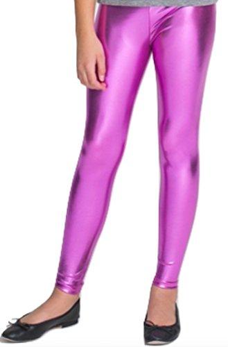 Little Cutie Big Girls Metallic Ankle Leggings (Girls Medium (6-8), Hot Pink)
