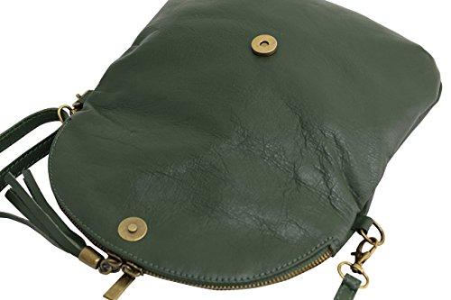 en petit cuir portés italien épaule AMBRA pour pochette Vert bandoulière femme Foncé à Sacs Moda NL609 lisse Sac qwIfX7