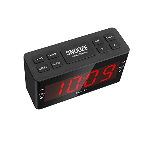 from us dreamsky dual alarms clock radio with am fm radio and sleep timer large number. Black Bedroom Furniture Sets. Home Design Ideas