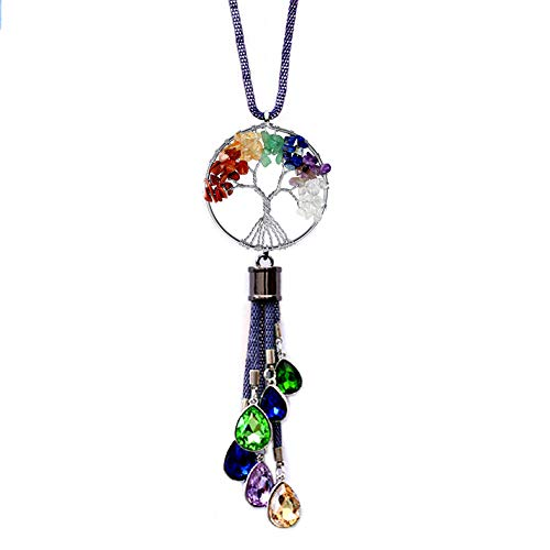 FIANUP Tree of Life Car Rearview Mirror Hanging Decorations Car Hanging Ornament Pendant Accessories Fengshui Suncatcher (Purple)