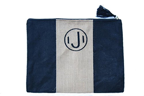 Mud Pie Chelsea Initial Monogrammed Jute Carry-all Case (Initial J) (Mud Pie Initial compare prices)