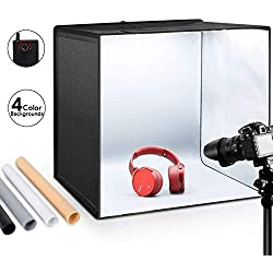 "ESDDI Photo Studio Light Box 20""/50cm Adjustable Brightness Portable Folding Hook & Loop Professional Booth Table Top Photography Lighting Kit 120 LED Lights 4 Colors Backdrops"