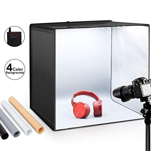 "ESDDI Photo Studio Light Box 20""/50cm Adjustable Brightness Portable Folding Hook & Loop Professional Booth Table Top Photography Lighting Kit 120 LED Lights 4 Colors Backdrops from ESDDI"