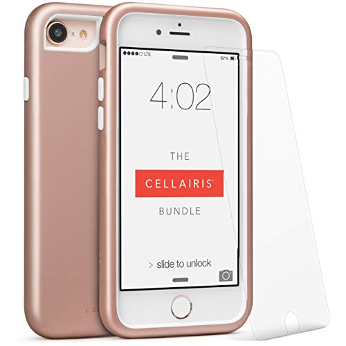 CELLAIRIS- Compatible with iPhone 8 Anti-Scratch Shock Absorption Cover Case for iPhone 7 with Tempered Glass Screen Protector, Offers Extra Protection and Scratch Resistant,Soft Feeling (Rose Gold) from Cellairis