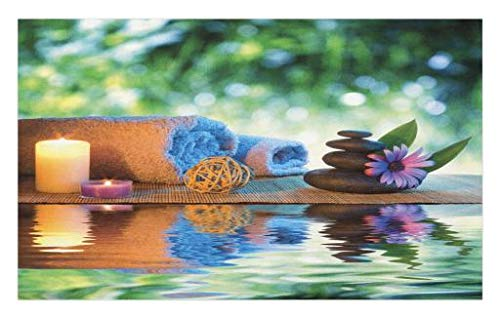 Lunarable Spa Doormat, Asian Culture Inspiration Chinese Japanese Candles Zen Meditation Stones, Decorative Polyester Floor Mat with Non-Skid Backing, 30 W X 18 L inches, Green Orange Lavander