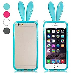 DUR Cute Rabbit Ear Pattern Frame Design Bumper Border TPU Soft Case for iPhone 6 (Assorted Colors) , White