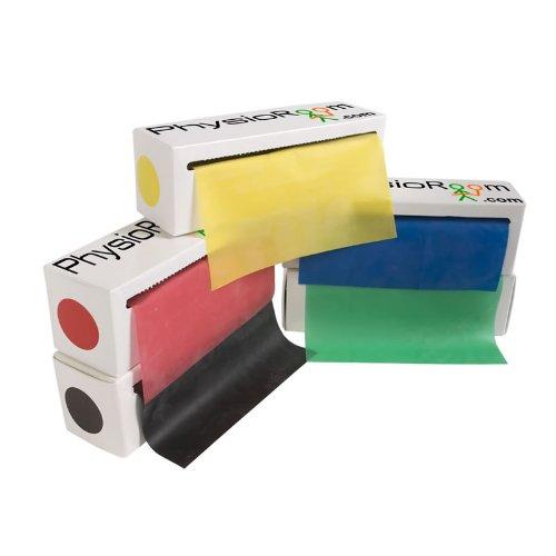 5 m x 15 cm Lange Rollen | 5 Stufen des Widerstandes | 5 Farben - gelb, rot, grün, blau und schwarz | IDEAL f�r Reha und St�rkung | IDEAL f�r Yoga und Pilates PhysioRoom.com