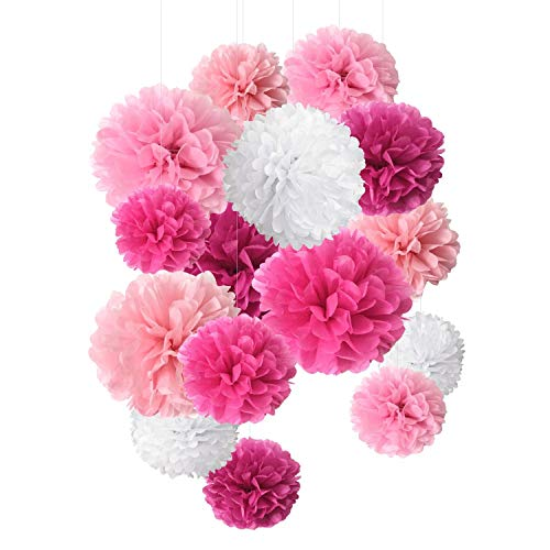 Paper Flowers Pom Poms 15 pcs of 8,10,14 Inch perfect for Wedding Decor - Birthday Celebration - Wedding Party and Outdoor Decoration]()