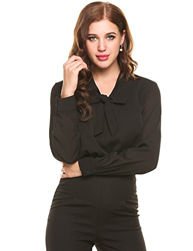Loveje Women's Long Sleeve Polka Dot Button Down Office Work Blouse Shirt Top (M, Type 2-Black) ()