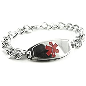 My Identity Doctor Custom Engraved Mens Medical Alert Bracelet, Steel, Thick Figaro Chain 8mm