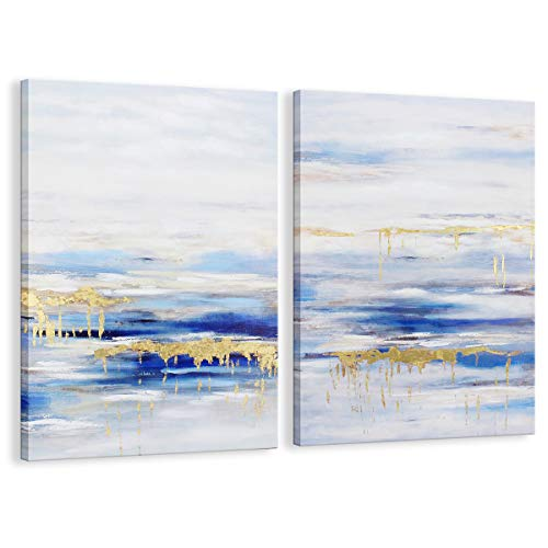Kas Home Blue Abstract Wall Art Canvas Print with Hand Painted Detail Gold Foil Embellished Modern Wall Decor Stretched (A+B, 24 x 36 Inch)