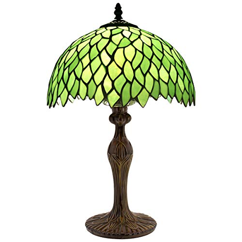 (Tiffany Style Table Lamp Light Green Wisteria Stained Glass Lampshade 18 Inch Tall Beside Bedroom Desk Lamps Antique Zinc Base for Living Room Office Lighting S523)