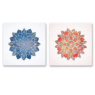 2 Panel Square Canvas Wall Art - Blue and Red Floral Pattern - Giclee Print Gallery Wrap Modern Home Art Ready to Hang - 12