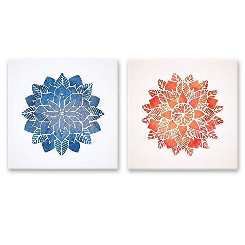 2 Panel Square Blue and Red Floral Pattern x 2 Panels